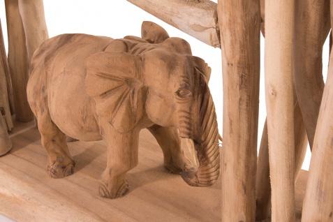 Handgefertigter Teakholz Raumteiler Elefanten Wohndekoration Deko Holz Teak - Vorschau 3