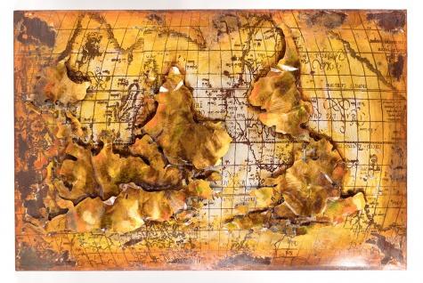 Handgefertigtes Metallbild Erde ca. 120x80 cm Kunst Bild 3D-Optik Wandbild