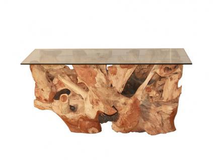 """Beistelltisch """"Erosi"""" aus unbehandelter Teakholzwurzel, quadratische Glasplatte ca. 95 cm x 55 cm"""