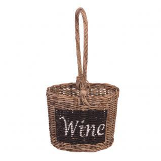 Tragekorb Wine Aufbewahrungskorb Rattankorb Korb Weinhalter Naturrattan - Vorschau 2