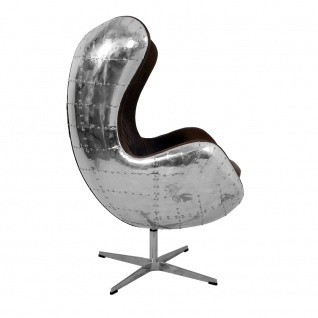 Design Schalensessel Saltum Cuba Brown Vintage Leder Aluminium - Vorschau 3