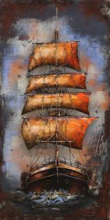Handgefertigtes Metallbild Sailing ca. 70x140 cm Kunst Bild 3D-Optik Wandbild