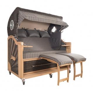 Strandkorb Kampen Spezial 3-Sitzer Mocca Set 1 inkl. Industrierollen und Hydraulikdämpfer