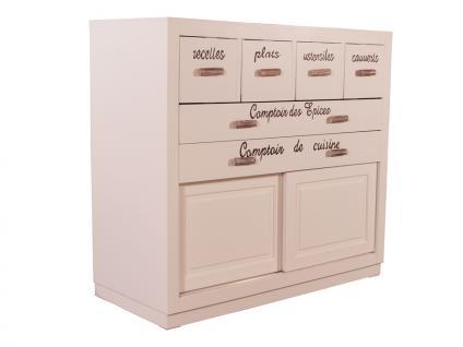 Küchenschrank Toulouse Landhaus Stil Holz Vintage Look creme weiß