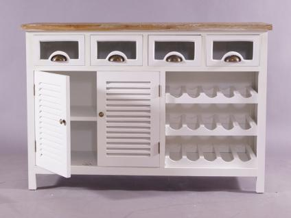Kommode Gard mit 15 Weinfächern - Landhaus Stil Vintage Look creme weiß - Vorschau 2