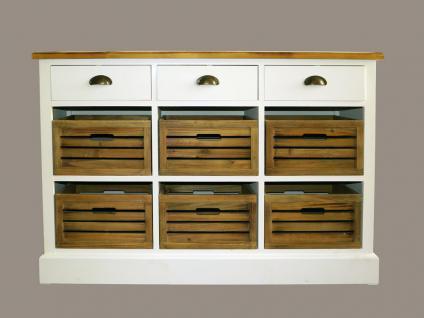 Kommode Touraine niedrig Landhaus Stil Holz 9 Schubladen Vintage Look weiß - Vorschau 2