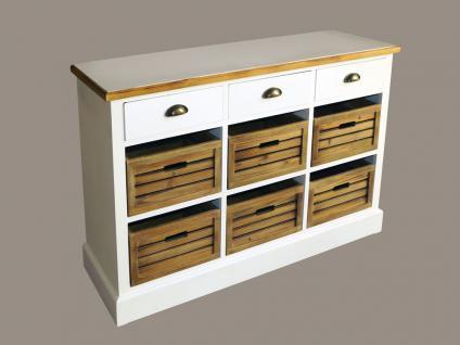 Kommode Touraine niedrig Landhaus Stil Holz 9 Schubladen Vintage Look weiß - Vorschau 3