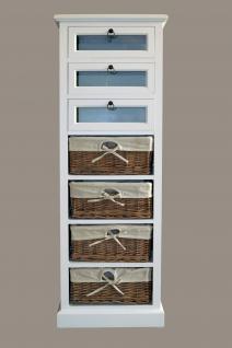Kommode Marseille Holz Glas 7 Schubladen Vintage Look creme weiß Landhaus Stil - Vorschau 2