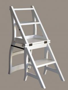 Leiterstuhl Mahagoni weiß weiss Klappstuhl Treppenstuhl - Vorschau 3