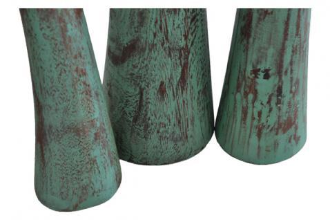 Teak Holz Stand Teelicht Halter Teakholz 3er SET mintgrün patiniert NEU - Vorschau 4
