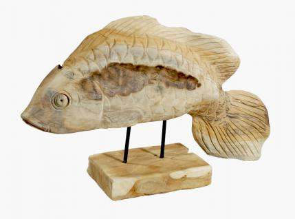 """Wohndekoration Skulptur """"Fisch"""" aus Teakholz"""