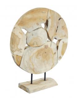Wohndekoration runde Skulptur aus Teakholzscheiben / Teakholz, S