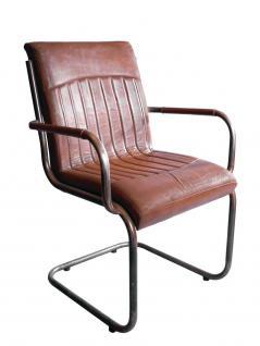 """Freischwinger-Sessel """"Draper"""" Vintage-Leder Stahlrohr"""