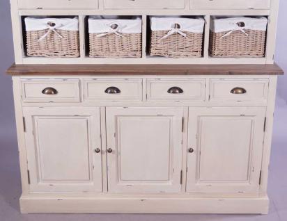 Schrankwand Marseille Buffet Landhaus Stil Holz Glas 8 Schubladen Vintage Look creme weiß - Vorschau 2