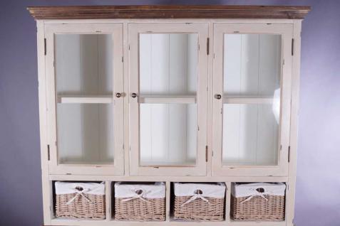 Schrankwand Marseille Buffet Landhaus Stil Holz Glas 8 Schubladen Vintage Look creme weiß - Vorschau 4