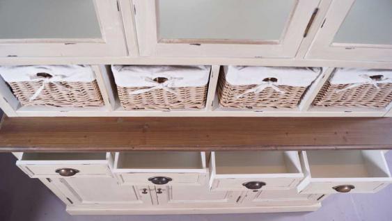 Schrankwand Marseille Buffet Landhaus Stil Holz Glas 8 Schubladen Vintage Look creme weiß - Vorschau 5