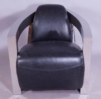 Design-Clubsessel Mars Leder Belon Black Chrom - Vorschau 2