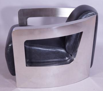 Design-Clubsessel Mars Leder Belon Black Chrom - Vorschau 3