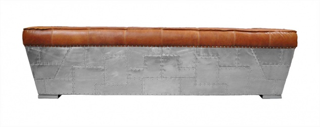 Clubsofa Longford 3-Sitzer Vintage-Leder Chrom - Vorschau 3