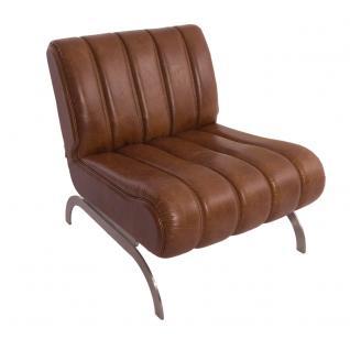Design-Clubsessel Cassidy Columbia Brown Edelstahl Ledersessel Leder Sessel