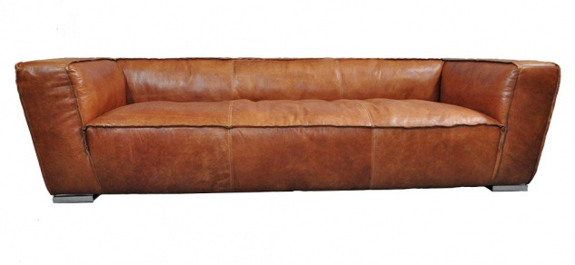 Clubsofa Longford 3-Sitzer Vintage-Leder Chrom