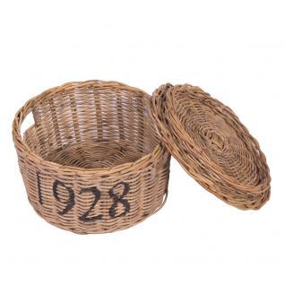 Runde Aufbewahrungsbox 1928 Rattankorb Korb Naturrattan Box