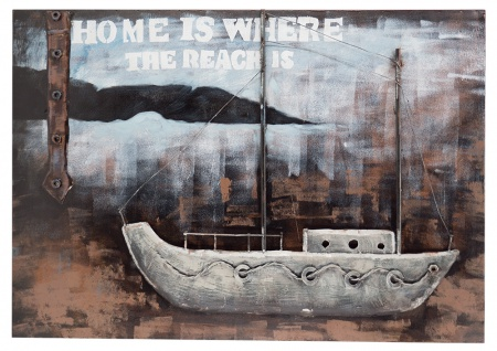 Handgefertigtes Metallbild Home ca. 100x70 cm Kunst Bild 3D-Optik Wandbild