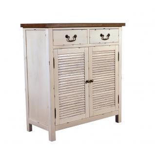 Kommode Bretagne Landhaus Stil Holz Vintage Look creme weiß