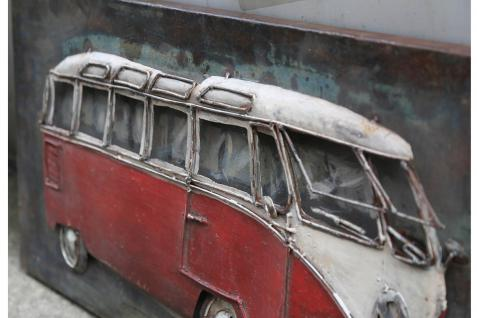 Handgefertigtes Metallbild Bus in rot ca. 140x70 cm Kunst Bild 3D-Optik Wandbild - Vorschau 2