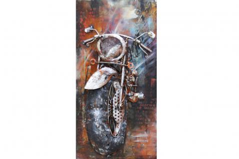 Handgefertigtes Metallbild Motorbike ca. 70x140 cm Kunst Bild 3D-Optik Wandbild