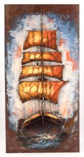 Handgefertigtes Metallbild Sailing ca. 120x60 cm Kunst Bild 3D-Optik Wandbild