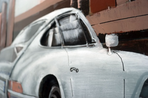 Handgefertigtes Metallbild Porsche 911 white ca. 115x75 cm Kunst Bild 3D-Optik Wandbild - Vorschau 4