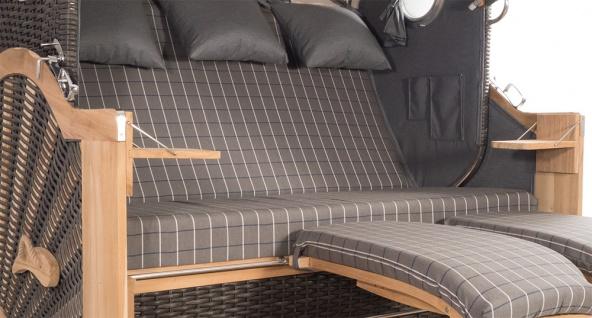Strandkorb Kampen Spezial 3-Sitzer Mocca Set 11 inkl. Industrierollen und Hydraulikdämpfer - Vorschau 4