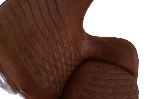 Design Schalensessel Saltum Whisky Brown Vintage Leder Aluminium - Vorschau 5