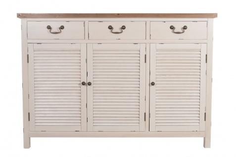 Kommode Bretagne XL 3 Türen Holz Vintage Look creme weiß