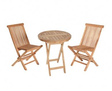 Teakholz Sitzgruppe Riva Set Bistrotisch rund zwei Klappstühle Teak Möbel Gartenmöbel