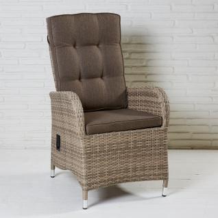 2er Set Positionsstuhl Turin Natur Geflecht Gartenstuhl Polyrattan Polyethylen