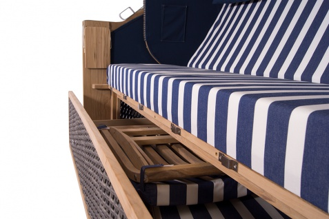 Familien Strandkorb Kampen 4-Sitzer Spezial in Mocca Duo T19 Azul Oscuro PolyrattanTeakholz Teak - Vorschau 5