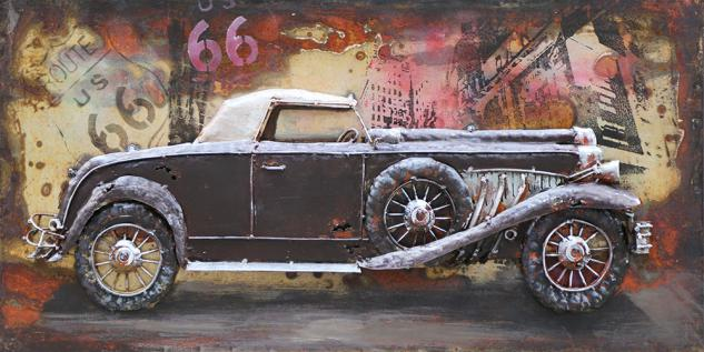 Handgefertigtes Metallbild Oldtimer in Schwarz ca. 80x40 cm Kunst Bild 3D-Optik Wandbild