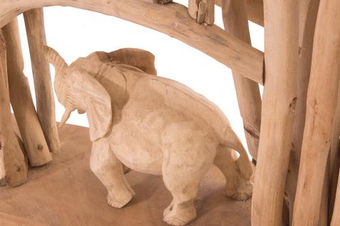 Handgefertigter Teakholz Raumteiler Elefanten Wohndekoration Deko Holz Teak - Vorschau 2