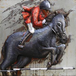 Handgefertigtes Metallbild Horse ca. 100x100 cm Kunst Bild 3D-Optik Wandbild - Vorschau