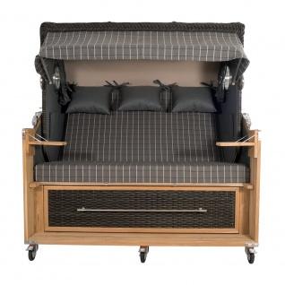Strandkorb Kampen Spezial 3-Sitzer Mocca Set 1 inkl. Industrierollen und Hydraulikdämpfer - Vorschau 2