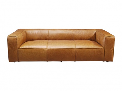 Clubsofa Dublin Columbia Brown 3-Sitzer Sofa Couch Ledersofa Rindsleder Designsofa