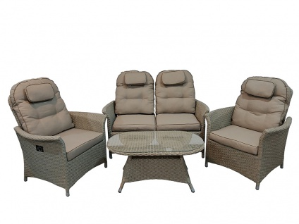 4 tlg. Lounge-Set Flamingo Polyrattan Gartenmöbel Möbelset Speiselounge
