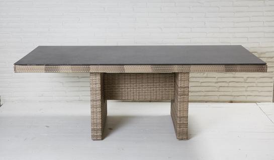 Esstisch Turin Natur Geflecht Polyrattan Spraystone-Finish Gartentisch Dining Table