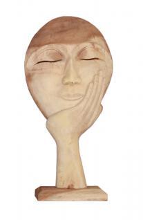 """Wohndekoration Skulptur """"Maske, getragen von einer Hand"""" aus Teakholz L"""