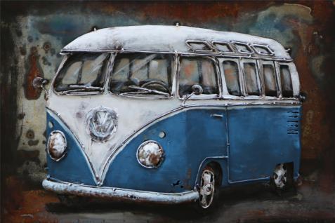 Handgefertigtes Metallbild Bus in Blau ca. 120x80 cm Kunst Bild 3D-Optik Wandbild