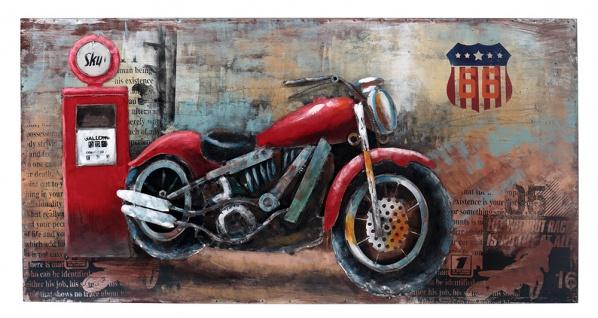 Handgefertigtes Metallbild Motorcycle Gas Station Red ca. 70x140 cm Kunst Bild 3D-Optik Wandbild