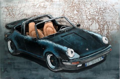Handgefertigtes Metallbild Porsche 911 Black ca. 115x75 cm Kunst Bild 3D-Optik Wandbild