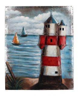 Handgefertigtes Metallbild Leuchtturm ca. 100x80 cm Kunst Bild 3D-Optik Wandbild